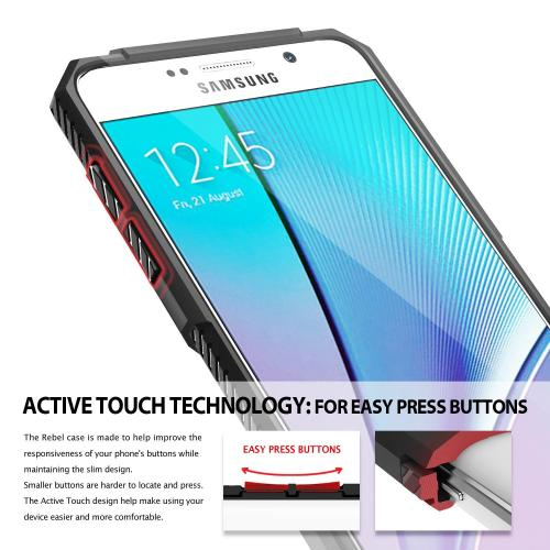 Samsung Galaxy Note 5, Ringke [Black] REBEL Series Improved Strength Flexible TPU Defensive Hybrid Case