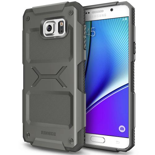 Samsung Galaxy Note 5 Case, Ringke REBEL Series [Gray] Improved Strength Flexible TPU Defensive Hybrid Case