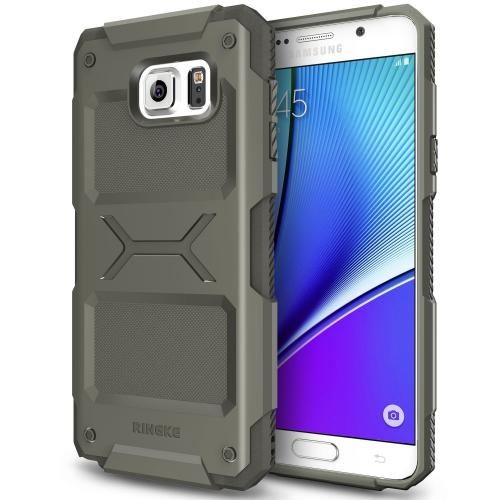 Samsung Galaxy Note 5 Case, Ringke REBEL Series [Olive] Improved Strength Flexible TPU Defensive Hybrid Case