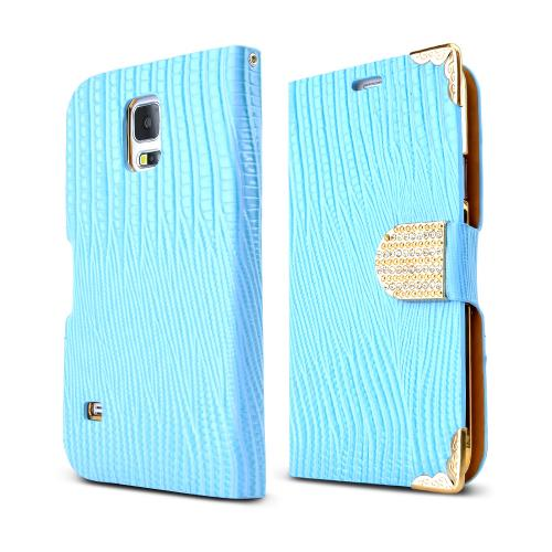 REDShield Baby Blue/ Gold Samsung Galaxy S5 Textured Diary Bling Wallet Case w/ ID Slots - Classy Protection!
