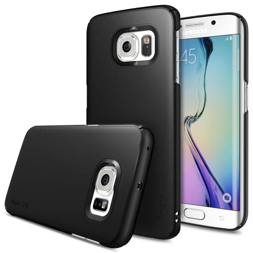 Samsung Galaxy S6 Edge Case, Ringke [Black] SLIM Series Slim & Protective Crystal Glossy Snap-on Hard Polycarbonate Plastic Case Cover w/ Free Screen Protector