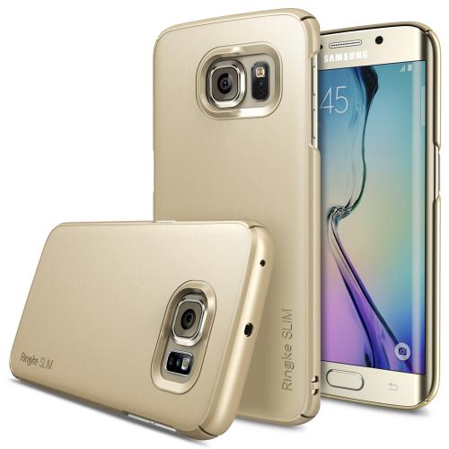 Samsung Galaxy S6 Edge Case, Ringke [Royal Gold] SLIM Series Slim & Protective Crystal Glossy Snap-on Hard Polycarbonate Plastic Case Cover w/ Free Screen Protector
