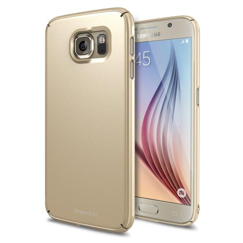 Galaxy S6 Case by Ringke [Royal Gold] SLIM Series Featuring Ultra Slim Dual Coated Matte Hard Protective Polycarbonate [Free Hd Screen Protector]