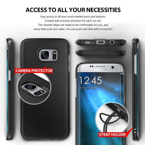 Samsung Galaxy S7 Edge, Ringke [SLIM][SF Black] Snug-Fit Ultra-Thin All Coverage Hard Case