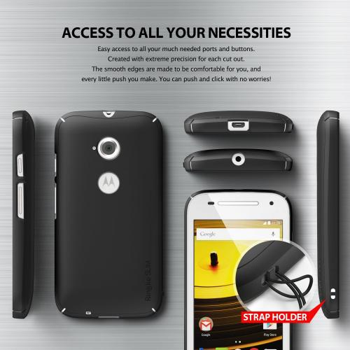 Ringke Standard Black SLIM Series Dual Coating Perfect Grip Hard Case for Motorola Moto E 2015