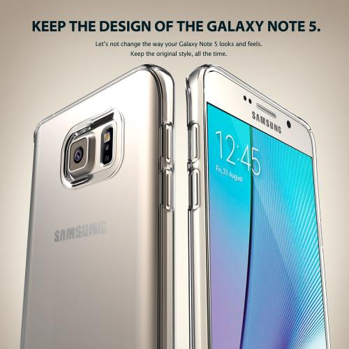Samsung Galaxy Note 5, Ringke [Frost White] SLIM Series Full Top/ Bottom Coverage Dual Coated Hard Case