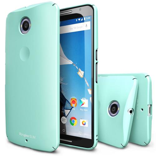 Nexus 6 Case by Ringke [Mint] Slim Series Featuring Slim Protective Dual Coated Polycarbonate in Matte Finish + Free HD Screen Protector