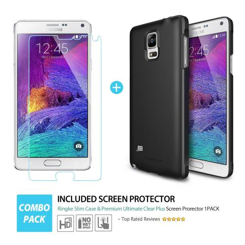 Samsung Galaxy Note 4 Case, Ringke [Black] SLIM Series Slim & Protective Crystal Glossy Snap-on Hard Polycarbonate Plastic Case Cover w/ Free Screen Protector