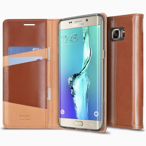 Galaxy S6 Edge Plus Case, Ringke SIGNATURE Case [Brown][Free HD Film]Premium Genuine Leather Standing View Diary Case Flip Cover Wallet Case