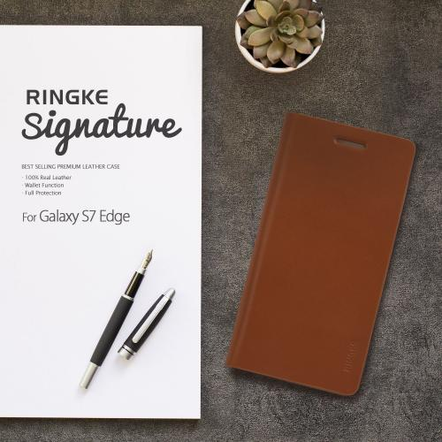 Samsung Galaxy S7 Edge Case, Ringke [SIGNATURE][Black] Premium Genuine Leather Flip Wallet Case