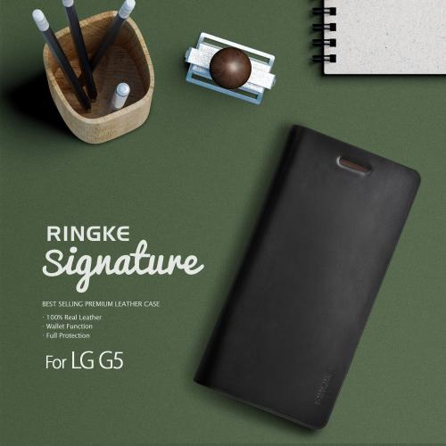 LG G5  Case, Ringke [Black] SIGNATURE Protective Genuine Leather Flip Wallet Case
