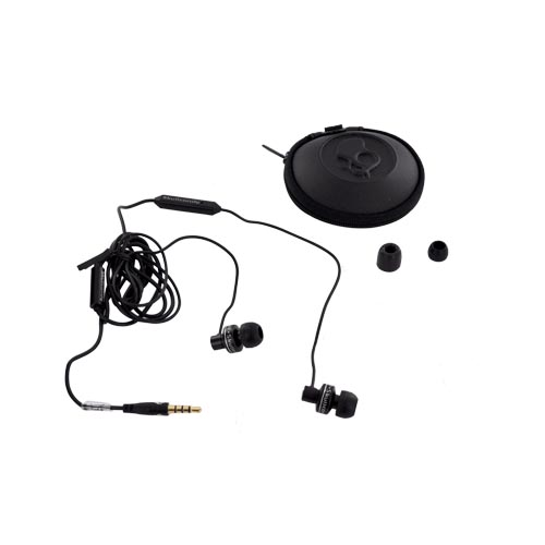 Original Skullcandy Full Metal Jacket Universal Headset w/ Mic & Carrying Case, S2FMDW-003 - Black/ Silver (3.5mm)