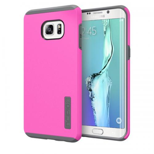 Samsung Galaxy S6 Edge +, Incipio [Pink/ Gray] Dual PRO Series Dual Layer Rubberized Hard Cover on Silicone Skin Heavy Duty Protective Hybrid Case