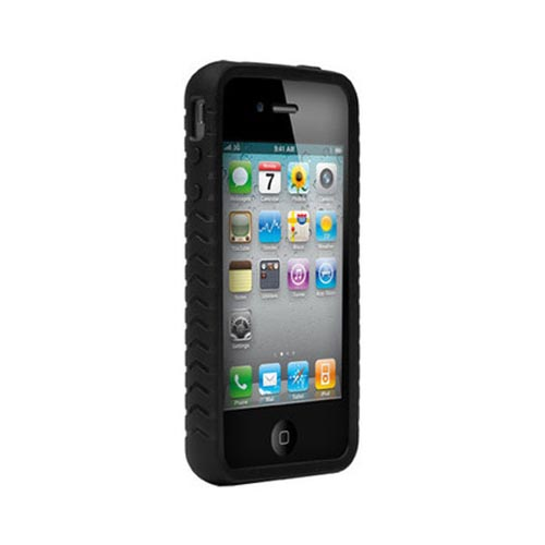 Original AGF AT&T/ Verizon Apple iPhone 4, iPhone 4S Magnate Leather on Crystal Silicone Case, SA0771-9005 - Black