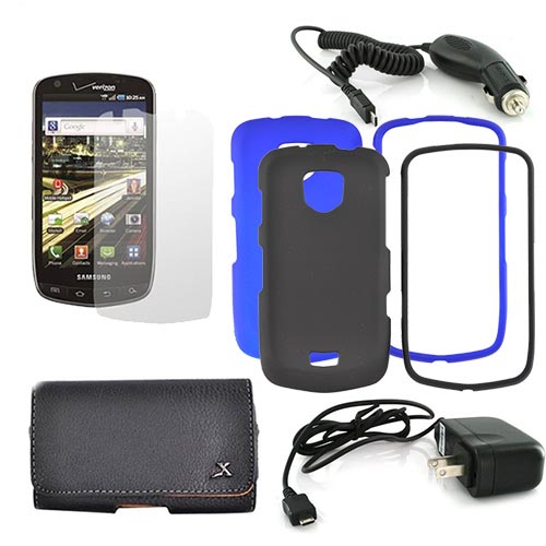 Samsung Droid Charge Essential Bundle Package w/ Black and Blue Rubberized Hard Case, Screen Protector, Leather Pouch, Travel Charger, and Car Charger