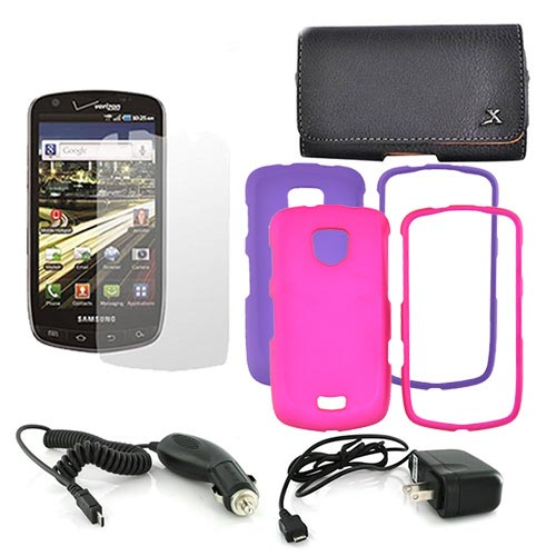 Samsung Droid Charge Essential Bundle Package w/ Hot Pink and Purple Rubberized Hard Case, Screen Protector, Leather Pouch, Travel Charger, and Car Charger