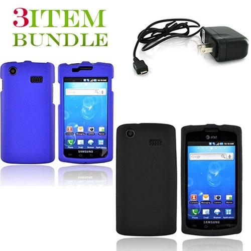Samsung Captivate Bundle Package - Blue Hard Case, Silicone Case & Travel Charger - (Essential Combo)