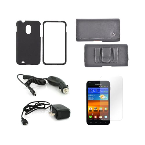 Samsung Epic 4G Touch Essential Bundle Package w/ Black Rubberized Hard Case, Screen Protector, Leather Pouch, Car & Travel Charger