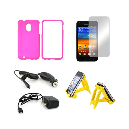 Samsung Epic 4G Touch Essential Bundle Package w/ Hot Pink Rubberized Hard Case, Mirror Screen Protector, Yellow 3Feet Stand , Car & Travel Charger