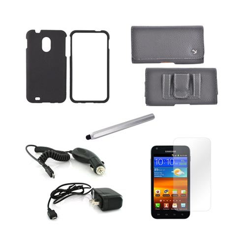 Samsung Epic 4g Touch Combo Package W/ Black Rubberized Hard Case, Screen Protector, Leather Pouch, Silver Metal Pen Stylus, Car & Travel Charger