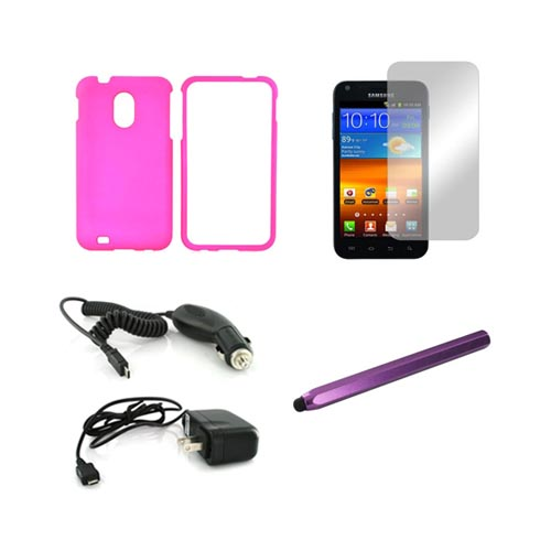 Samsung Epic 4g Touch Essential Combo Package Hot Pink Rubberized Hard Case, Mirror Screen Protector, Purple Metal Pen Stylus , Car & Travel Charger