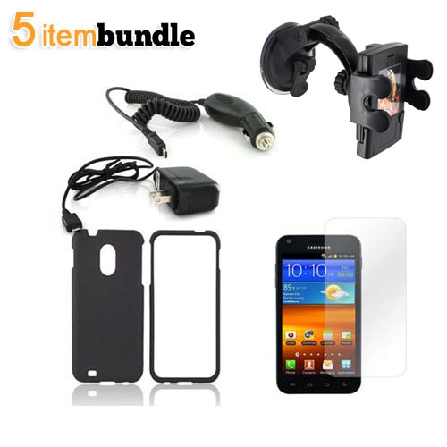 Samsung Epic 4G Touch Essential Bundle Package w/ Black Rubberized Hard Case, Screen Protector, Car & Travel Charger, & Windshield Car Mount