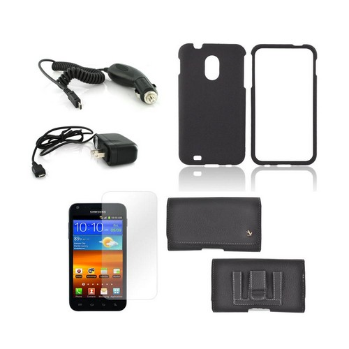 Samsung Epic 4G Touch Essential Bundle Package w/ Premium Horizontal Pouch, Black Rubberized Hard Case, Car Charger, Travel Charger, & Screen Protector