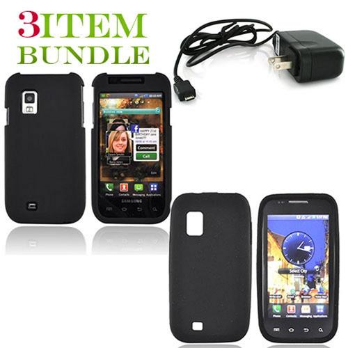 Samsung Fascinate Bundle Package - Black Hard Case, Silicone Case & Travel Charger - (Essential Combo)