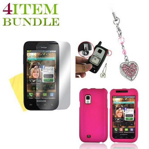 Samsung Fascinate Bundle Package - Hard Case, Mirror Screen Protector & Sparkling Heart Charm - (Geeky in pink Combo)