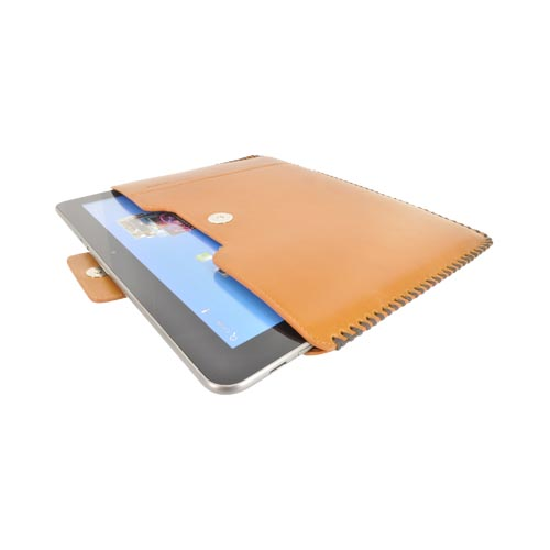 Original Zenus Samsung Galaxy Tab 10.1 Prestige Hand Crafted Stich Pouch Series Case, SAG10-PH5PO-CA - Camel Brown