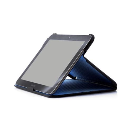 Original Zenus Samsung Galaxy Tab 8.9 Color Point Series Leather Stand Case, SAG89-MP5ST-BK - Black w/ Blue Interior