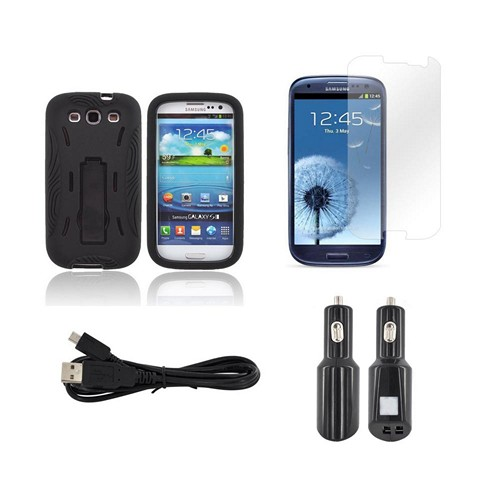 Essential Bundle Package w/ Black Silicone Over Hard Case w/ Kickstand, Screen Protector, Micro USB Data Cable, & Dual USB Port Car Charger Adapter for Samsung Galaxy S3
