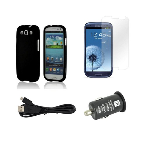 Essential Package W/ Black Rubberized Hard Case, Screen Protector, Micro Usb Data Cable, & Black Usb Port Car Charger Adapter For Samsung Galaxy S3
