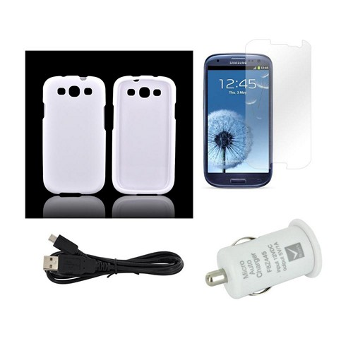 Essential Package W/ White Rubberized Hard Case, Screen Protector, Micro Usb Data Cable, & White Usb Port Car Charger Adapter For Samsung Galaxy S3