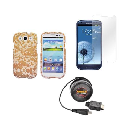 Samsung Galaxy S3 Army Bundle w/ Brown/ Beige Digital Camouflage Hard Case, Geeks Approved Micro USB Wall Charger, & Screen Protector