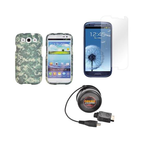 Samsung Galaxy S3 Army Bundle w/ Forest Green/ Olive Green Digital Camouflage Hard Case, Geeks Approved Micro USB Wall Charger, & Screen Protector