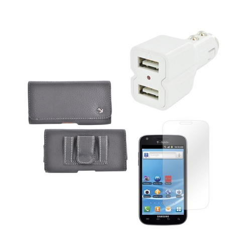 Samsung Galaxy S3 Essential Bundle w/ Leather Pouch, Universal Dual USB Car Charger w/ Micro USB Data Cable, & Premium Screen Protector