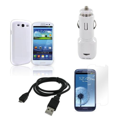 Samsung Galaxy S3 Essential Bundle w/ Ultra-Premium Glossy Snow White Hard Back Cover, Screen Protector, & Universal Dual USB Car Charger w/ Micro USB Data Cable