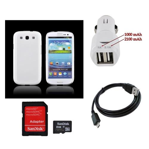 Samsung Galaxy S3 Combo W/ Ultra-premium Glossy Snow White Hard Back Cover, Trident Universal Dual Usb Car Charger W/ Micro Usb Data Cable and more!