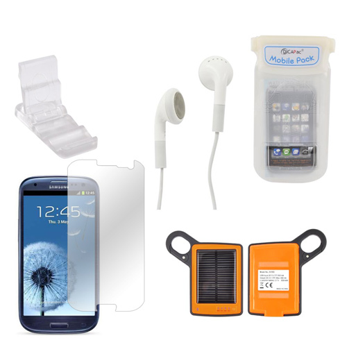 Samsung Galaxy S3 Summer Bundle Package w/ DiCAPac Waterproof Phone Case, Anti-Gloss Screen Protector, Solar Charger, 3.5mm Earbuds, and Portable Keychain Kick Stand