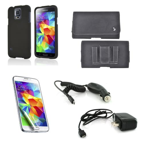 Essential Starter Bundle Package w/ Black Rubberized Hard Case, Screen Protector, Leather Pouch, Car & Travel Charger for Samsung Galaxy S5