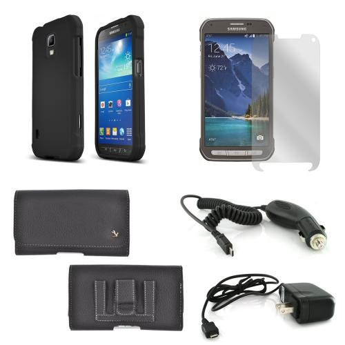 Essential Starter Bundle Package for Samsung Galaxy S5 Active w/ Black Rubberized Hard Case, Screen Protector, Leather Pouch, Car & Travel Charger