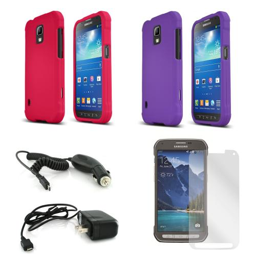 Essential Girly Bundle Package for Samsung Galaxy S5 Active w/ Hot Pink & Purple Rubberized Cases, Mirror Screen Protector, Car & Travel Charger