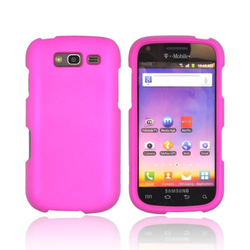 Samsung Galaxy S Blaze 4G Essential Girly Bundle Package w/ Rose Pink & Purple Rubberized Hard Case, Mirror Protector, Car & Travel Charger??