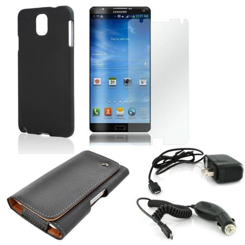 Essential Bundle Package w/ Black Rubberized Hard Case, Screen Protector, Leather Pouch, Car & Travel Charger for Samsung Galaxy Note 3