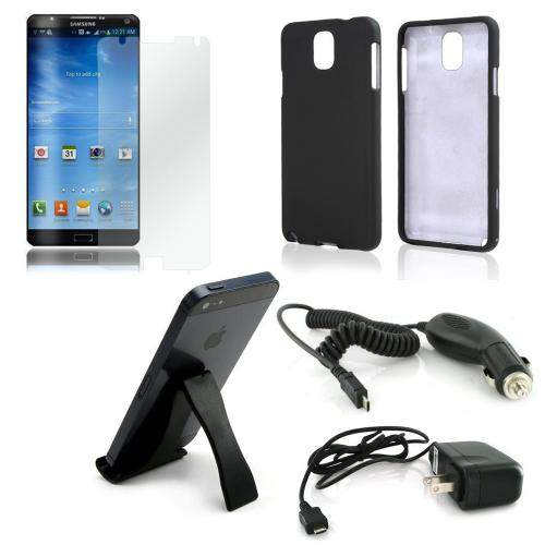 Essential Bundle Package w/ Black Rubberized Hard Case, Screen Protector, Portable Stand, Car & Travel Charger for Samsung Galaxy Note 3