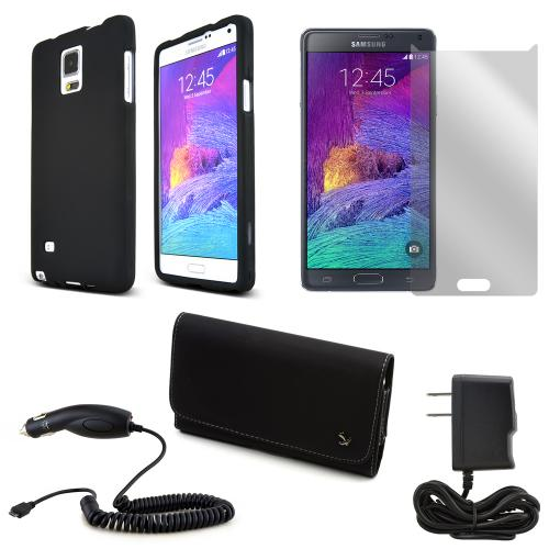 [5 Items Combo] Samsung Galaxy Note 4 Combo W/ Black Rubberized Hard Case, Screen Protector, Leather Pouch, 2a Car Charger, & 2a Home Charger