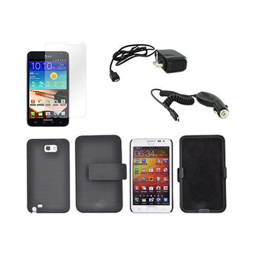 Samsung Galaxy Note Essential Bundle Package w/ Black Rubberized Hard Case Holster Combo, Screen Protector, Car & Travel Charger