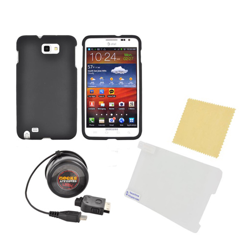 Samsung Galaxy Note Essential Bundle Package w/ Black Rubberized Hard Case, Screen Protector, & Travel Charger