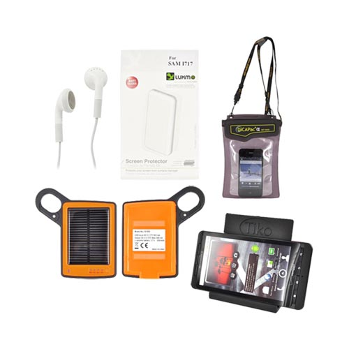 Samsung Galaxy Note 1/2/3 Summer Bundle Package w/ DiCAPac Waterproof Phone Case, Anti-Glare Screen Protector, Solar Charger, 3.5mm Earbuds, and Tiko Stand